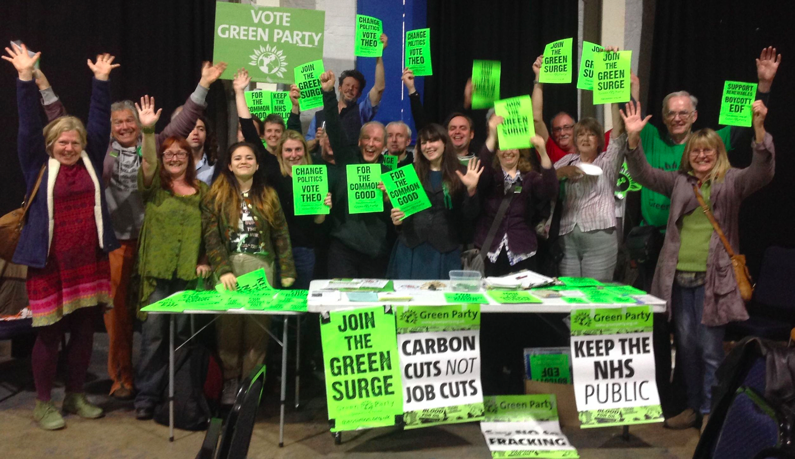 East Mendip Green Party members, with Amelia Womack and others, celebrating the Green Surge